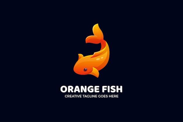 Modelo de logotipo gradiente de peixe koi laranja