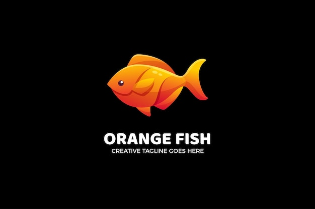 Modelo de logotipo gradiente de peixe laranja