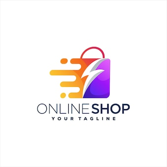 Modelo de logotipo gradiente de sacola de compras