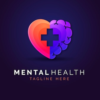 Modelo de logotipo gradiente de saúde mental