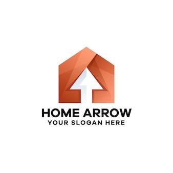 Modelo de logotipo gradiente de seta para casa