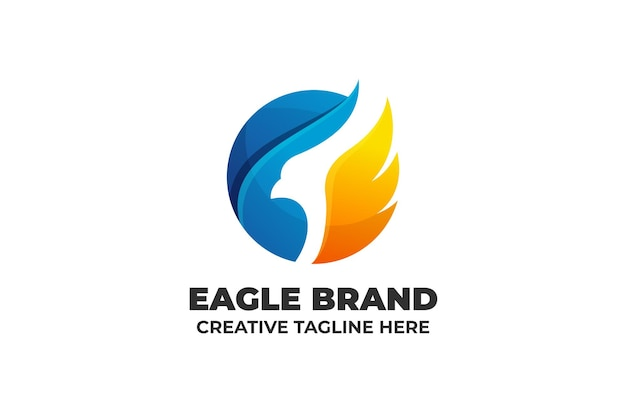 Modelo de logotipo gradiente de silhueta eagle falcon