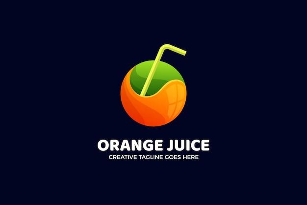 Modelo de logotipo gradiente de suco de laranja fresco