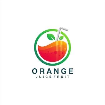 Modelo de logotipo gradiente de suco de laranja