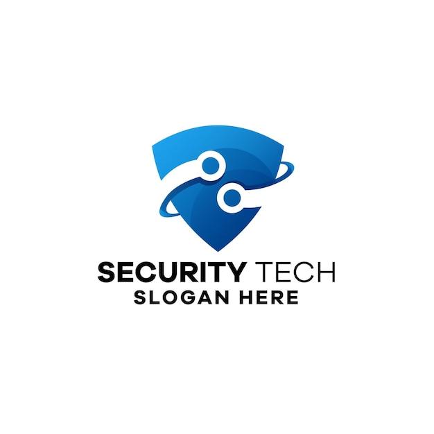 Modelo de logotipo gradiente de tecnologia de segurança