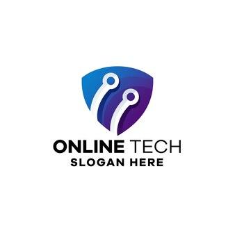 Modelo de logotipo gradiente de tecnologia online