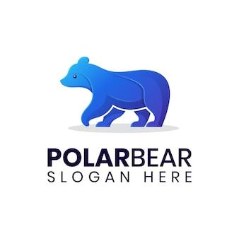 Modelo de logotipo gradiente de urso polar