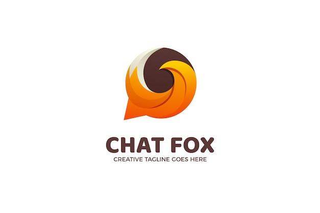 Modelo de logotipo gradiente do bubble chat fox