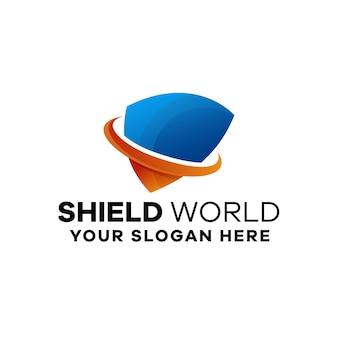 Modelo de logotipo gradiente do mundo shield