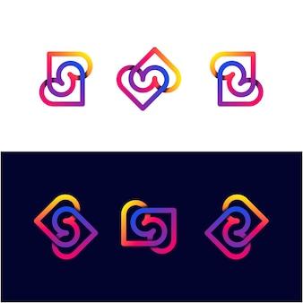 Modelo de logotipo gradiente double love set