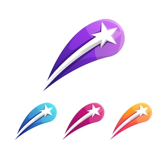 Modelo de logotipo gradiente estrela impressionante
