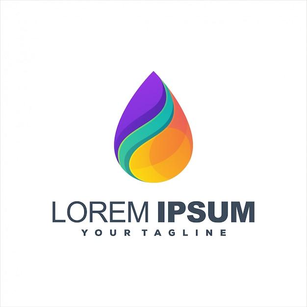 Modelo de logotipo gradiente impressionante gota