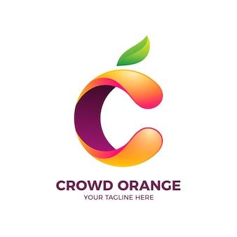 Modelo de logotipo gradiente laranja 3d c letter