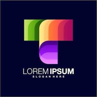 Modelo de logotipo gradiente letra t