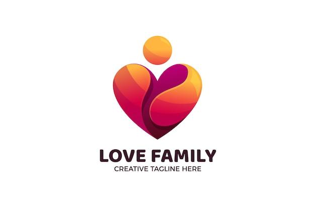 Modelo de logotipo gradiente love family care