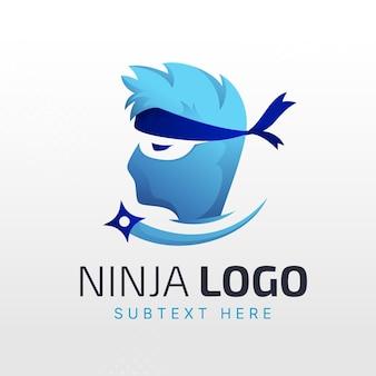 Modelo de logotipo gradiente ninja