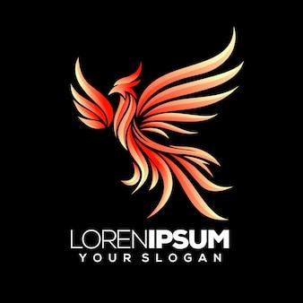 Modelo de logotipo gradiente phoenix