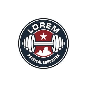 Modelo de logotipo gym barbell em emblema circular