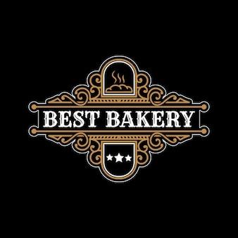 Modelo de logotipo heráldico de loja de padaria vintage de luxo com moldura de emblema decorativo decorativo