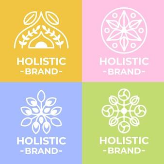 Modelo de logotipo holístico em fundos de cores diferentes
