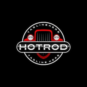 Modelo de logotipo hotrod Vetor Premium