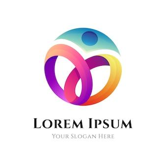 Modelo de logotipo humano abstrato