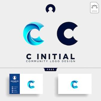 Modelo de logotipo humano de comunidade de letra c