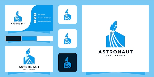 Modelo de logotipo imobiliário e cartão de visita
