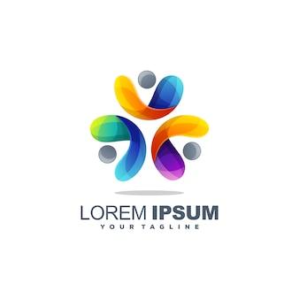 Modelo de logotipo impressionante colorido círculo humano