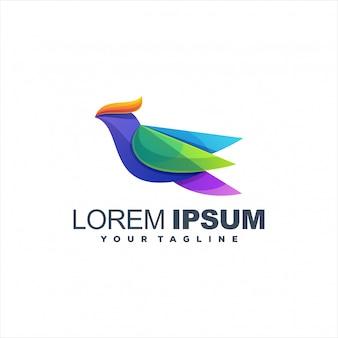 Modelo de logotipo impressionante pássaro gradiente