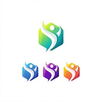 Modelo de logotipo impressionante pessoas gradiente