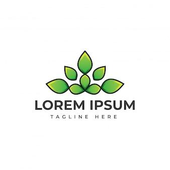 Modelo de logotipo incrível folha natureza