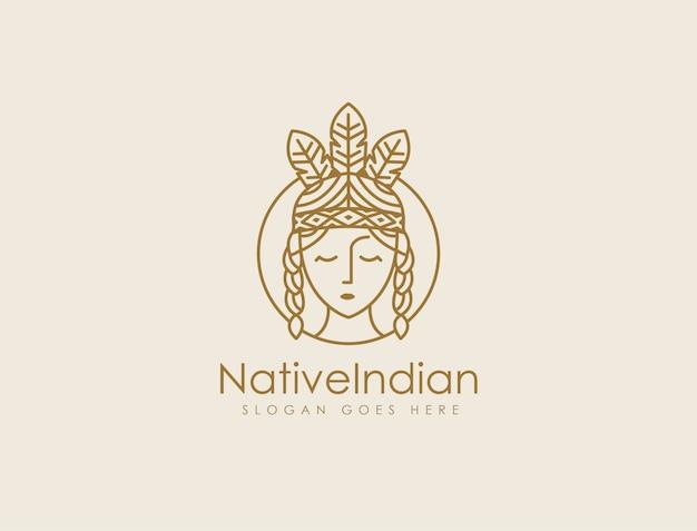 Modelo de logotipo indiano nativo lineart