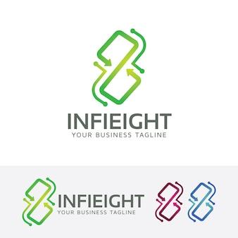 Modelo de logotipo infinity número oito