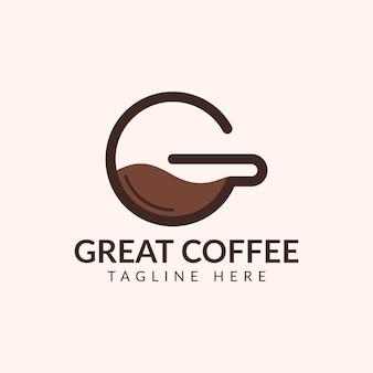 Modelo de logotipo iniciais da xícara de café quente, letra g