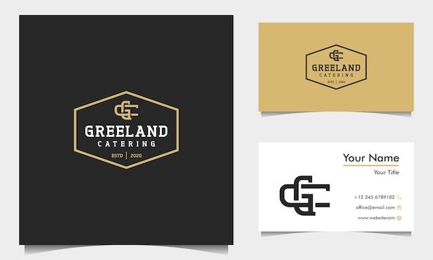 Modelo de logotipo inicial das letras c e g vintage com cartão de visita