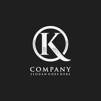 Modelo de logotipo inicial de cromo letra k