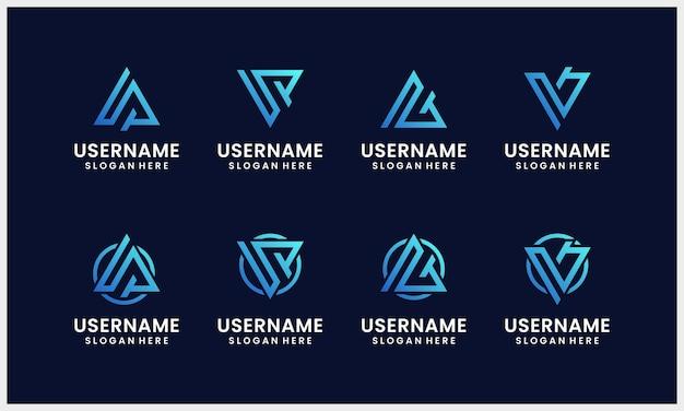 Modelo de logotipo inicial de letra de triângulo abstrato com cores gradientes