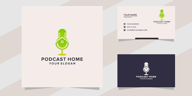 Modelo de logotipo inicial de podcast