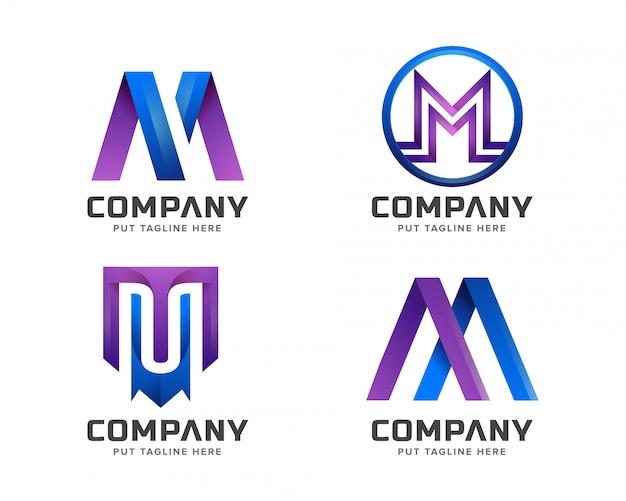 Modelo de logotipo inicial m de letra para empresa