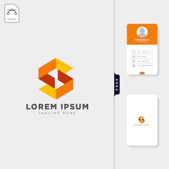 Modelo de logotipo inicial mínimo s design de cartão de visita livre