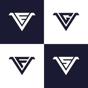 Modelo de logotipo inicial monograma