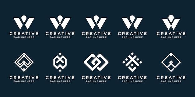 Modelo de logotipo inspirador letra w abstrato.