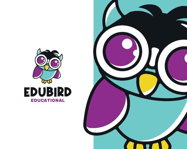 Modelo de logotipo inteligente educacional de coruja e pássaro
