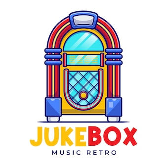 Modelo de logotipo jukebox music retro cartoon Vetor Premium