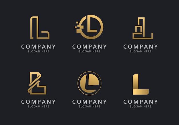 Modelo de logotipo l iniciais com uma cor dourada para a empresa