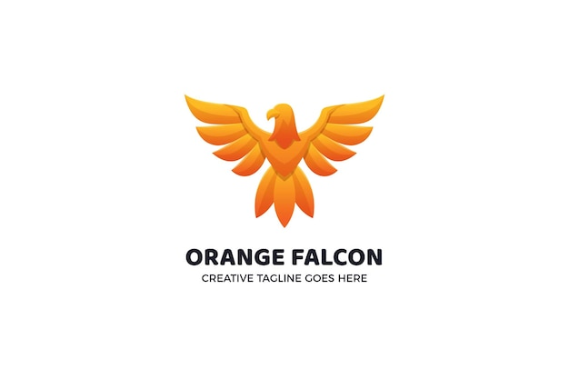 Modelo de logotipo laranja falcon animal
