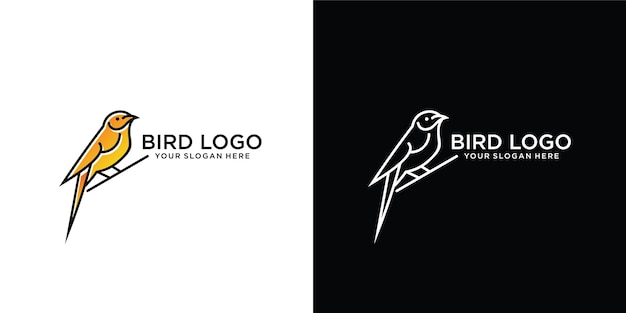 Modelo de logotipo lindo e simples de pássaro