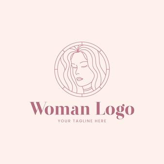 Modelo de logotipo linear de mulher plana