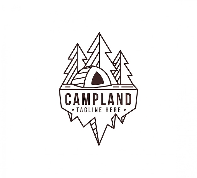 Modelo de logotipo lineart camping